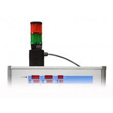 Signalleuchte WK36ST-PG, montiert auf Prüfgerät, Signalleuchte rot / grün nach VDE 0104 / EN 50191