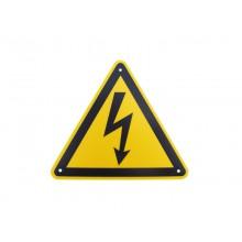 Warnschild Blitz, gelbes Dreieck mit schwarzem Blitzpfeil