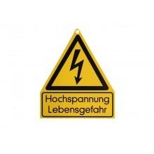 """Warnschild Blitz+"""".Hochspannung Lebensgefahr"""", Einhängeschild für HV- Prüfplätze"""