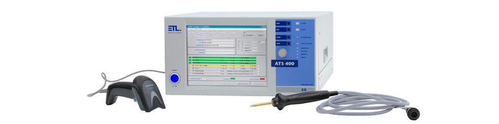 VDE Prüfgerät ATS400 X8 mit PE-Prüfspitze und Barcodescanner